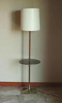 Working Vintage Floor Lamp With Built In Table And Original Shade   Mid  Century Modern,