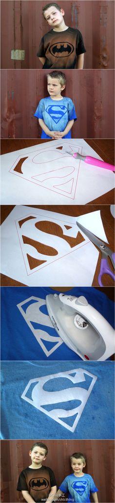 Superman and Batman bleach shirts