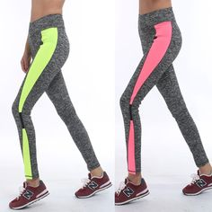 Trendy Pink Dark Grey Leggings High Waist Spliced Workout
