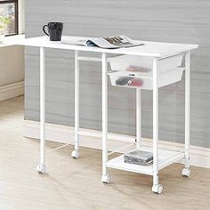 1PerfectChoice Accent Computer Office Home Folding Desk w/ Casters Storage Tray Shelf in White