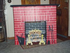 "Vintage Toymaster Life Size Cardboard Fireplace for Christmas . . . I was about 12 yrs old, and always dreamed of having a fireplace . . . ours came with an orange bulb and reflector that spun to make it look like the fire was flickering.  I ""hung my stockings"" from its mantle!  On Christmas Eve, I remember rocking on Grandma's rocking chair with Christmas carols playing in the background--it was snowing outside.  One of my best memories!"