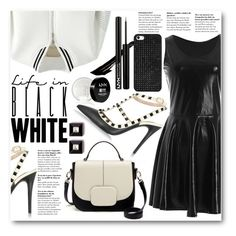 """""""Black Or White"""" by stylemoi-offical ❤ liked on Polyvore featuring Retrò, NYX, Givenchy, Valentino, BaubleBar and stylemoi"""