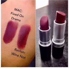 """Revlon's """"Wine Not"""" ($6.99 at drugstores) is a perfect dupe for Mac's """"Fixed on Drama"""" ($16 at Mac)"""