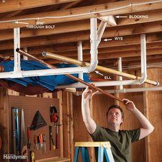 Overhead Storage in the Garage Ceiling Storage Rack, Pegboard Storage, Overhead Garage Storage, Garage Storage Systems, Diy Garage Storage, Tool Storage, Storage Ideas, Storage Solutions, Garage Shelving