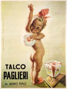 """Poster with Italian vintage poster print advertising """"Paglieri Talc Powder""""."""