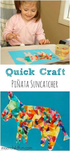 It's almost time for Cinco de Mayo — one of my favorite holidays! I love the food, the music, and all the bright beautiful colors! We made fun pinata suncatchers today to make our kitchen look a little more festive. I drew an outline of a donkey onto some construction paper, and Emily cut out …