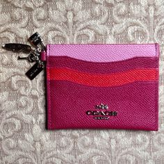 """'Charming' Coach Card Holder NWT 3-color leather card holder, coin case, 3 card slots and pocket, 4 charms: feather, lock, key, and Coach logo. 4 1/8x3 1/4"""".  PRICE FIRM Coach Accessories Key & Card Holders"""