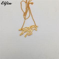 Elfin 2017 Trendy Origami Unicorn Necklace Gold Color Silver Color Animal Jewellery Pendant Necklace Women Steampunk