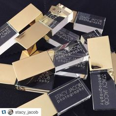 """#Repost @stacy_jacob with @repostapp. #PresentationMatters ・・・ Swooning over my new #StacyJacobPhotography crystal and gold USB drives from…"""