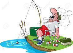 Картинки по запросу рыбак с удочкой рисунок