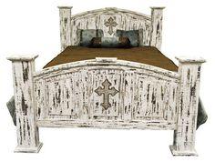 white scrape queen mansion wcross rustic furniture great western furniture co - Rustic Western Bedroom Furniture