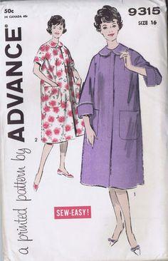 Vintage 1960s Woman Robe Sewing Pattern 9315 Advance Sz 16 Bust 36 Hip 38 Uncut | eBay