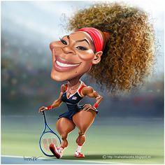 "Caricaturas de Famosos: ""Serena Williams"" por Mahesh Nambiar"