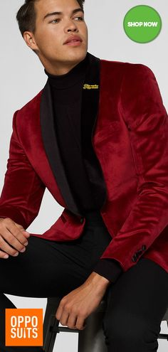 Red Suit, Black Suits, Prom Suit And Dress, Velvet Dinner Jacket, Velvet Blazer, Red Blazer, Prom Outfits, Homecoming Dresses, Guy Outfits
