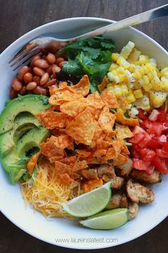 My *favorite* Southwest Salad with Garlic Lime Dressing and Doritos! Yum, but no doritos! Best Salad Recipes, Healthy Recipes, Healthy Salads, Healthy Eating, Southwest Salad, Southwest Chicken, Buffalo Chicken, Southwest Dressing, Mexican Food Recipes