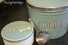 Re-purposed Popcorn Tins:  Make custom dog food or supply containers with paint and stencils.  [Source:  www.TheLilypadCottage.com]