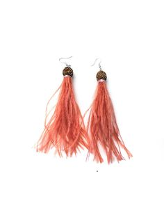 SALE Peach Salmon Pink Ostrich Feather earrings Tassel Earrings Real Feather Fluffy Feather Trim Peach Pink earrings Feather long drop