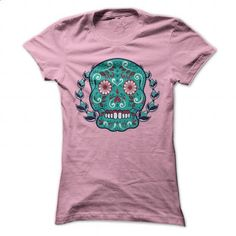 Blue and Teal Sugar Skull Laurel Leaf T-shirt - #gift ideas for him #inexpensive gift