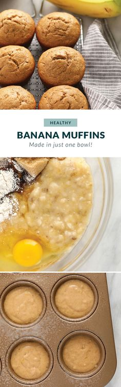 Healthy Banana Muffins (made w/ 9 ingredients!) - Fit Foodie Finds Healthy banana muffins that will make your tastebuds dance! This banana muffin recipe is made with whole wheat flour, mashed banana, and maple syrup. Ripe Banana Recipe, Healthy Banana Muffins, Moist Banana Bread, Banana Bread Muffins, Healthy Muffin Recipes, Banana Bread Recipes, Breakfast Recipes, Breakfast Time, Breakfast Ideas