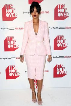 Shop Rihanna's pink gingham look, here: