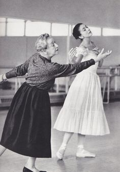 "Tamara Karsavina rehearsing Margot Fonteyn for 'Le Spectre de la Rose'. In a documentary about Fonteyn, Nureyev said that they danced with ""one body, one soul"" and that Margot was ""all he had, only her."