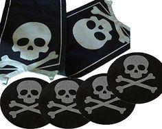 Halloween Skull & Crossbones Table Runner with Felt Round Placemats Midnight Market http://www.amazon.com/dp/B00NO5GPAW/ref=cm_sw_r_pi_dp_reFgub0G1RNGS