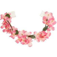 Miss Selfridge Flower Hair Garland ($7) ❤ liked on Polyvore featuring accessories, hair, hair accessories, hair stuff, hats, filler and pink