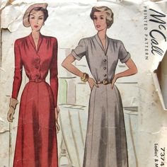 Vintage 40s Womens Dress Pattern Button Front With 2 Sleeve Styles Large Size McCall 7374 Sz 20 di kalliedesigns su Etsy https://www.etsy.com/it/listing/230597014/vintage-40s-womens-dress-pattern-button