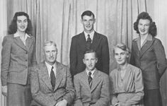 The Light Family of Battleford, Saskatchewan in 1943: June, James and Peggy Light are standing; Charles, Colin and Vera Light are seated. Missing is the eldest son RCAF pilot Alan Light, who was killed in a training accident in 1942.