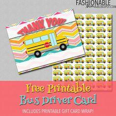 Fashionable Moms: Free Printable Bus Driver Thank You Card!