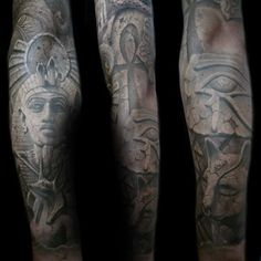 Mens Stone 3d King Tut Egypt Themed Full Sleeve Tattoos