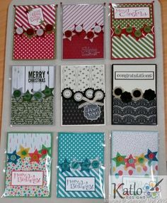 Cardmaking ideas, Stampin' Up! Christmas cards - one card layout done nine different ways to suit every occasion. Atc Cards, Paper Cards, Xmas Cards, Stampin Up Cards, Holiday Cards, Button Cards, Card Sketches, Cool Cards, Creative Cards