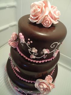 Brown & Pink Tiered Cake