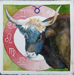 Zodiac taurus (c) #watercolor by Frank Koebsch, 21 x 21 cm, $270; More information about the Zodiac can be found at http://frankkoebsch.wordpress.com/2011/09/20/sternzeichen-stier-%C2%A9-aquarell-von-frank-koebsch/