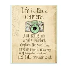Stupell Life is Like a Camera Inspirational Art Wall Plaque - Overstock - 10847157 Wooden Wall Plaques, Wood Wall Art, Box Frames, Frames On Wall, Framed Wall, Framed Prints, Art Prints, Birthday Quotes For Him, Inspirational Wall Art