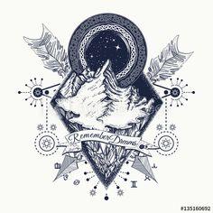 Mountains tattoo. Symbol of tourism, adventure, meditation