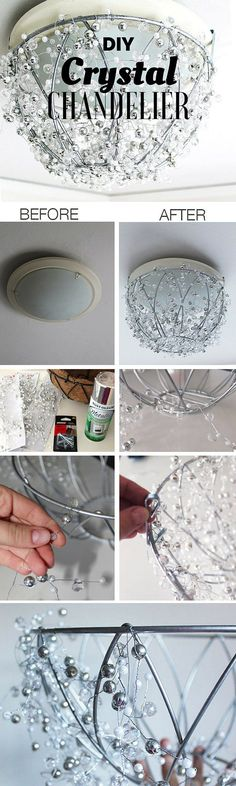Check out the tutorial: DIY Crystal Chandelier /istandarddesign/ - Amazing Diy Decor Home Improvement Projects, Home Projects, Home Crafts, Diy And Crafts, Craft Projects, Decor Crafts, Decor Diy, Easy Home Decor, Handmade Home Decor