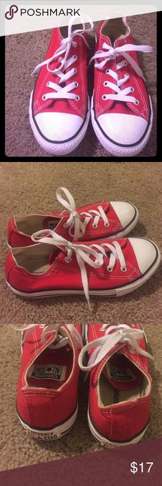 Kids red converse unisex size 3 ! Trend alert Kids unisex red converse size 3 in good condition Converse Shoes Sneakers