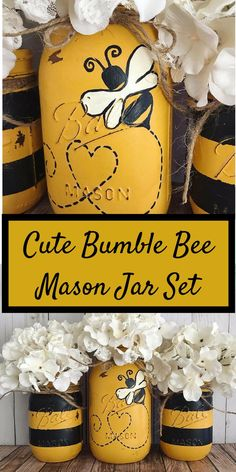 Set of 3 hand painted black and yellow Bumble Bee Mason jars. ****FLOWERS NOT INCLUDED**** These hand painted jars are perfect for your shabby chic decor, farmhouse or rustic office decor. Mason Jar Gifts, Mason Jar Diy, Bee Crafts, Crafts To Make, Bottles And Jars, Glass Jars, Mason Jar Projects, Jar Art, Bee Party