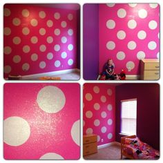 This is the room all Finished painted. 3 purple walls, 1 pink Minnie Mouse polka dot wall with sparkles. We uses the Disney paints to paint this Minnie Mouse room.
