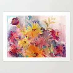 Flowers Art Print by Dorrie Rifkin Watercolors - $19.00