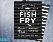 FISH FRY Invitation  - Black and White Modern Invite, Customizable, Printable JPG File