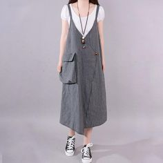 Load image into Gallery viewer, fashion long cotton blended dress Loose fitting Casual Summer Stripe Big Pocket Loose Suspender Gray Dress Long Summer Dresses, Summer Dress Outfits, Trendy Dresses, Casual Dresses, Linen Dresses, Dress Summer, Summer Clothes, Dress Long, Spring Summer
