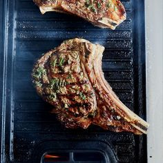 Bone-In Rib Eye Steaks with Grilled Onion Jam