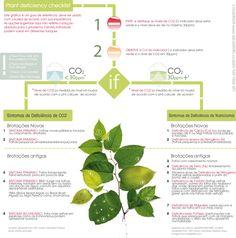 Quadro para identificar deficiência de nutrientes em plantas aquáticas