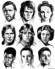 Star Wars Heroes: Sumi Ink on Behance Star Wars Film, Star Wars Fan Art, Copic, Writing Comics, Drawing Stars, Images Star Wars, Star Wars Drawings, Pretty Star, Sumi Ink