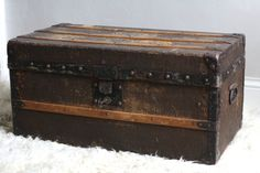 Large. French vintage wooden trunk 19th. Made in France. French storage trunk. French vintage box. French rustic box. French steamer trunk.