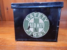 SOLD - 1920s First Aid Kit   Etsy Cabin Bathroom Decor, Lodge Bathroom, Cabin Bathrooms, Safety And First Aid, Vintage Cabin, Lodge Decor, First Aid Kit, Shipping Boxes, Black Metal