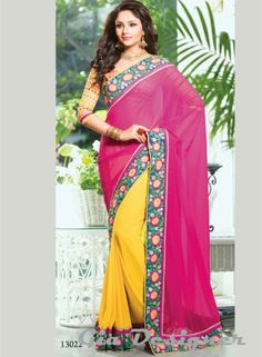 Magenta & Yellow Georgette Stone Work Designer Saree