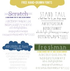 four free hand-drawn fonts from JDC